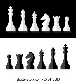 Black and white chess pieces flat design style. Vector.