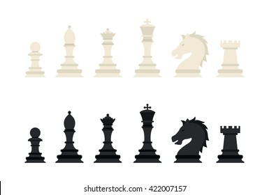 Black & White chess pieces isolated on white background. Vector illustration.