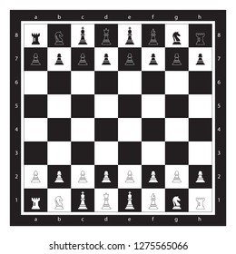 Black and White ChessBoard With Chess Figurine Algebraic Notation. Chess Game Vector illustration. Chess Figures King, Queen, Bishop, Knight, Rook, Pawn. Chess Board Illustration.