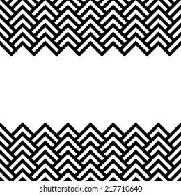 Black and white chevron geometric horizontal border frame background, vector