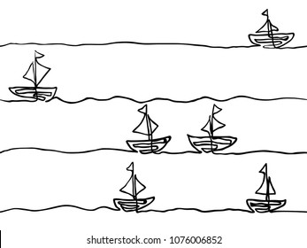 black and white childish hand drawn line art boat seamless pattern, wallpaper, texture, banner, label, background, vector design