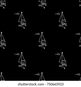 Black and white childish seamless pattern with yacht silhouette. Light summer travel adventure design. Marine icon. Infinitely repeating seascape motif. Retro ship, sailboat, boat transport.