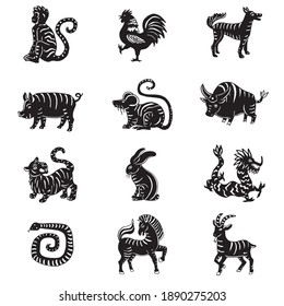 Black and white chinese zodiac collection on simple white background
