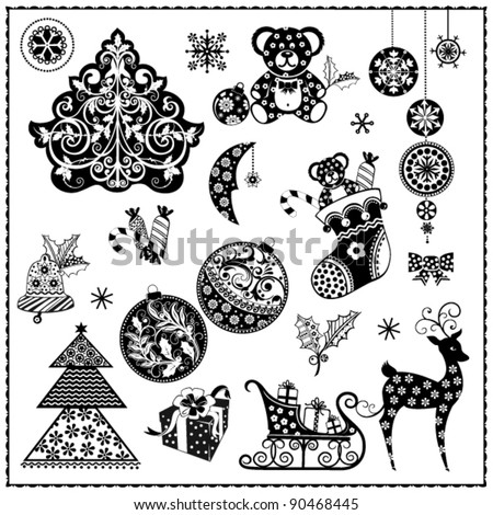 black and white christmas background - Black And White Christmas Clip Art