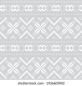 Black and White Christmas fair isle pattern background for fashion textiles, knitwear and graphics