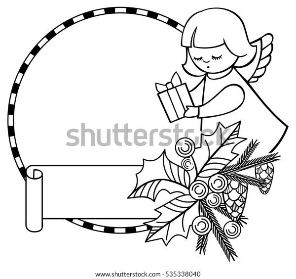 Christmas Clip Art Black And White Free.Black White Christmas Frame Cute Angels Stock Vector