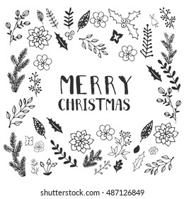 black and white christmas greeting card template vector merry christmas winter holiday design - Black And White Christmas