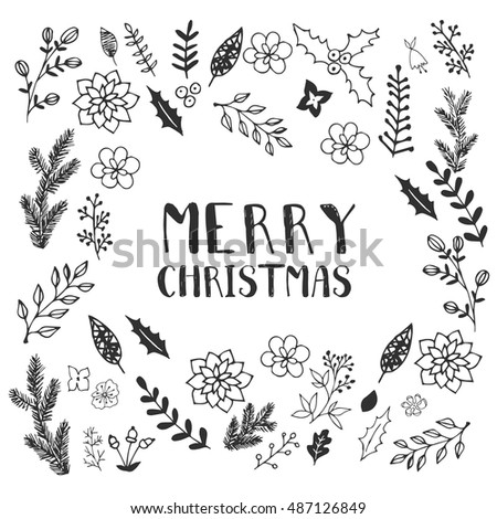 Black White Christmas Greeting Card Template Stock Vector Royalty