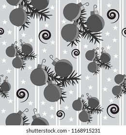 Black and white Christmas holiday ornaments pine swirls stars seamless pattern stripes