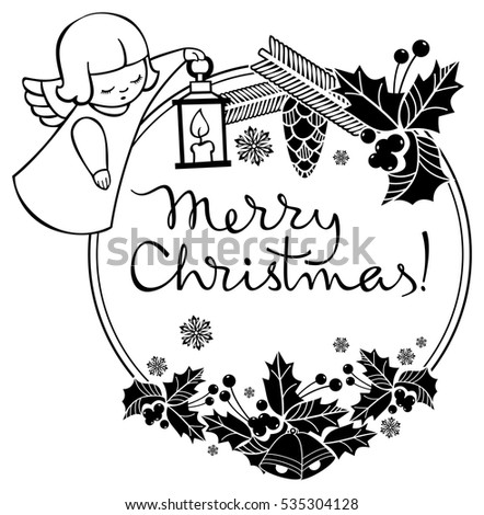 Black White Christmas Label Angel Artistic Stock Vector Royalty