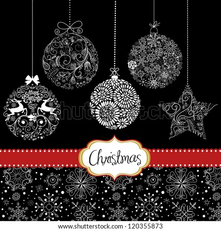 Black White Christmas Ornaments Card Template Stock Vector Royalty