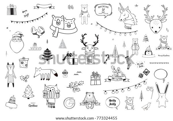 Black And White Christmas.Black White Christmas Winter Doodle Set Stock Vector