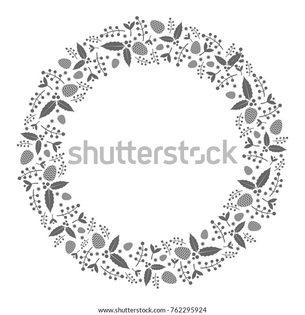 Christmas Wreath Silhouette Vector.Black White Christmas Wreath Silhouette Vector Stock Vector