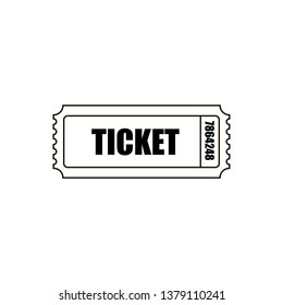 Black and white cinema ticket icon. For your site to buy or book tickets for events, cinema or theater. - Vector