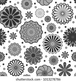 Black and white circle daisy gerbera flowers natural seamless pattern, vector