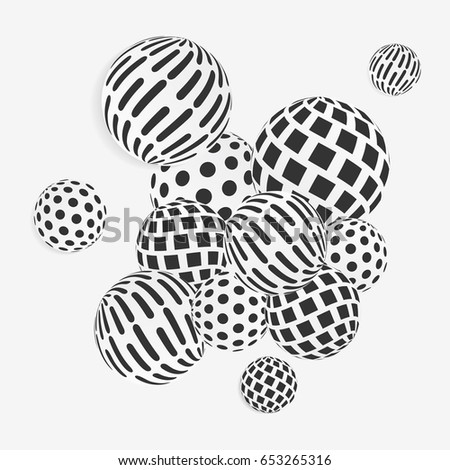 Black White Circle Decorative Balls Abstract Stock Vector Royalty Awesome Black And White Decorative Balls