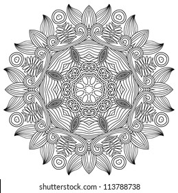 black and white circle flower ornament, ornamental round lace design