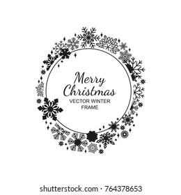 Black and white circle snowflake frame isolated on red background, Christmas design. Vector illustration, merry xmas snow flake framework