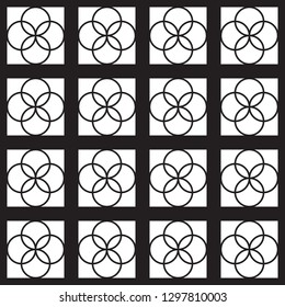 Black and white circle tile pattern