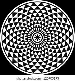Black and White Circular Fractal Design