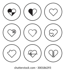 The Black and White Circular Icon for Heart and Love Concept