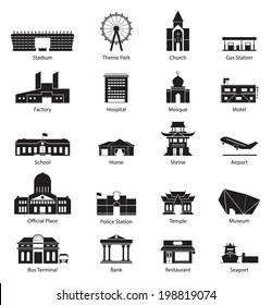 Black and White City Building Icon Set