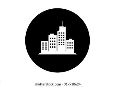 Black and white city icon on white background