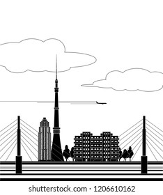 Black and white city with tower, bridge and clouds.