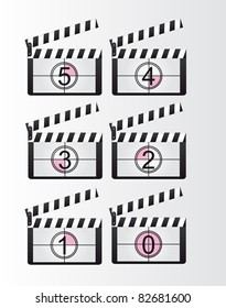 black and white clappers boards countdown over gray background. vector