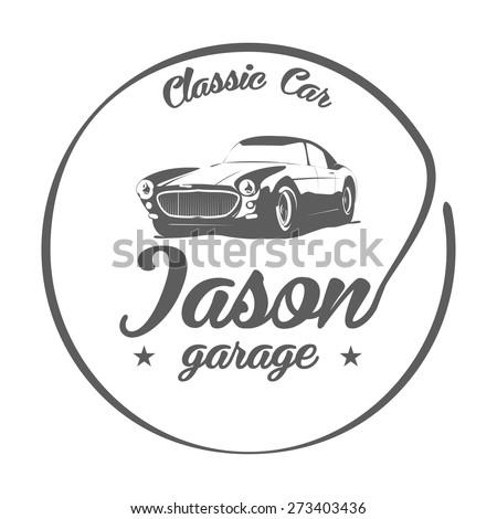 Black White Classic Car Logo Vector Illustration Stock Vector