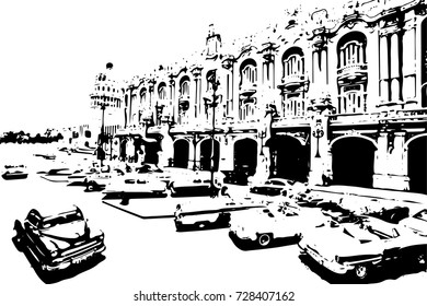 Black and white classic cars in the center of Havana in Cuba. Black and white drawn of Havana city. - vector illustration