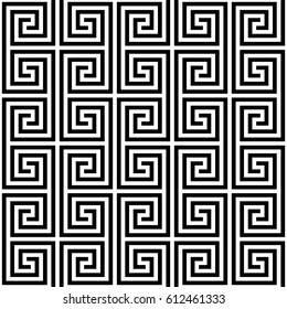 Black and white Classic meander seamless pattern. Greek key Monochrome tileable linear vector background.