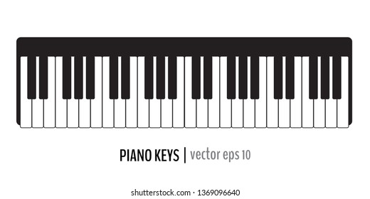 Black and white classic piano keys. Vector illustration for your graphic design.