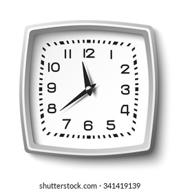Black and white classic station wall clock isolated on white background