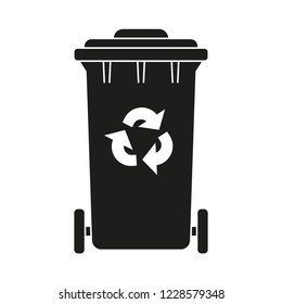 Black and white closed dumpster silhouette. Street recycle trash bin Waste disposal themed vector illustration for icon, logo, stamp, label, emblem, certificate, leaflet, brochure or banner decoration