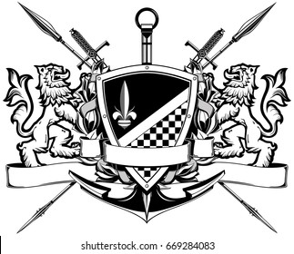 The black white coat of arms with lions, swords, spears and anchor