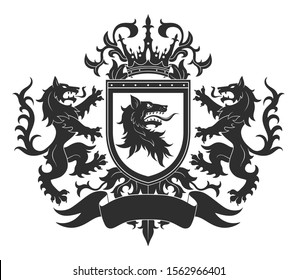 Black and white Coat of arms with two wolves and shield.