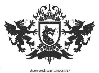 Black and white Coat of arms with two dragons and shield.