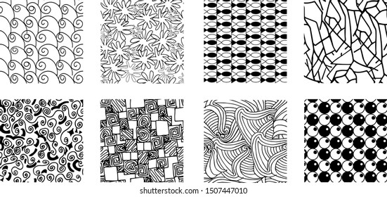 Black and White collection of seamless pattern in the style zentangle, zen art. Endless texture. antistress coloring book for adults.