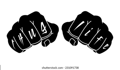 Black and white color arms with Thug Life tattoo on fingers. Clenched fists illustration isolated on white