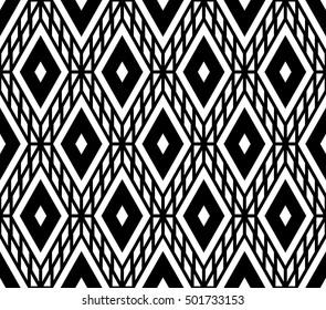 Black and white color optical lattice argyle seamless pattern background.