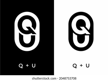 Black and white color of QU initial letter design
