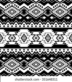 black and white color tribal Navajo seamless pattern. aztec fancy abstract geometric art print. ethnic hipster backdrop. Wallpaper, cloth design, fabric, paper, wrapping, textile design template.