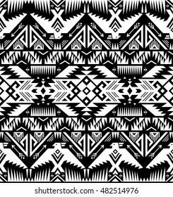 black and white color tribal vector seamless pattern with eagle. aztec abstract geometric art print. ethnic hipster vector background. Wallpaper, cloth design, fabric, paper, cover, textile template.