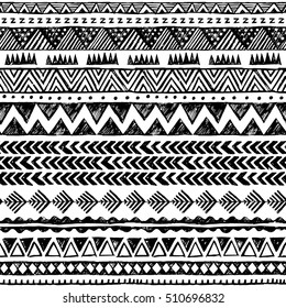 black and white color tribal vector seamless pattern. aztec abstract geometric art print. ethnic hipster vector background. Wallpaper, cloth design, fabric, paper, cover, textile template. Hand drawn.