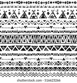 black and white color tribal vector seamless pattern. aztec abstract geometric art print. ethnic hipster vector background. Wallpaper, cloth design, fabric, paper, cover, textile template. Hand drawn