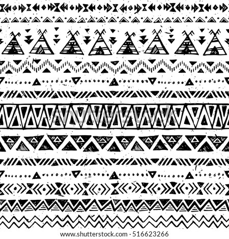 Black White Color Tribal Vector Seamless Stock Vector Royalty Free