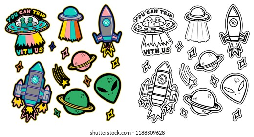 Black and white and colorful line set icons with patches stickers with stars alien UFO spaceships planets. Modern vector style mascot logo trendy print on kids clothes t shirt sweatshirt poster.