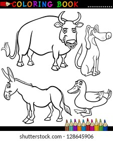 Black and White Coloring Book or Page Cartoon Illustration Set of Funny Farm and Livestock Animals for Children