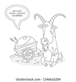 Black and white coloring book page. Cartoon character of a funny cute horned goat and a farm cart with hay. Card from a set for the development of children. Vector illustration